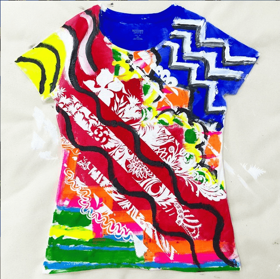 Hand painted and screen printed t-shirt, made by instructor Ben Copperwheat for the online course.