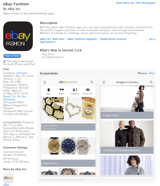 eBay Fashion Preview; Image via Itunes.apple.com