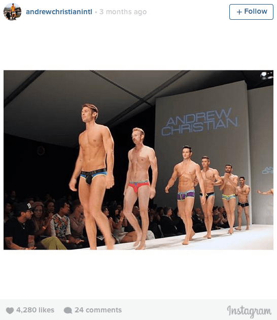 Image from Andrew Christian runway show during LA Fashion Week 2015. Image courtesy of Andrew Christian Instagram