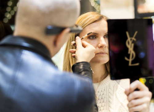 YSL makeup artists used the smart headsets to turn client sessions into video tutorials shot from their point of views; Image via Tumblr.com
