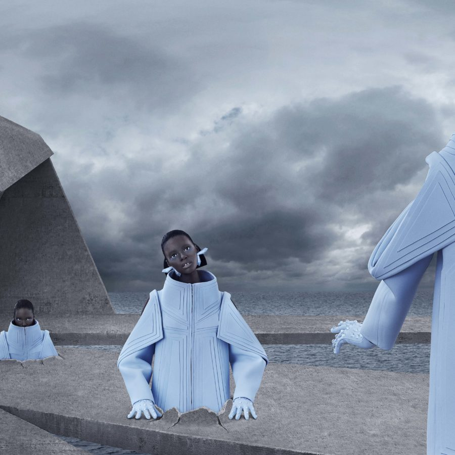Models in futuristic clothes emerge from the ground