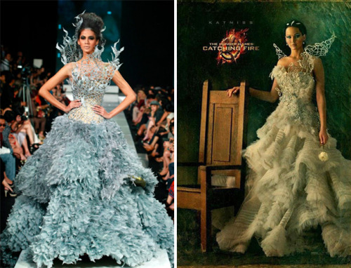 Jennifer Lawrence in Tex Saverio in The Hunger Games: Catching Fire