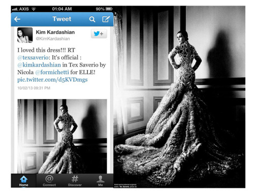 Kim Kardashian in Tex Saverio in February 2013 edition of Elle magazine