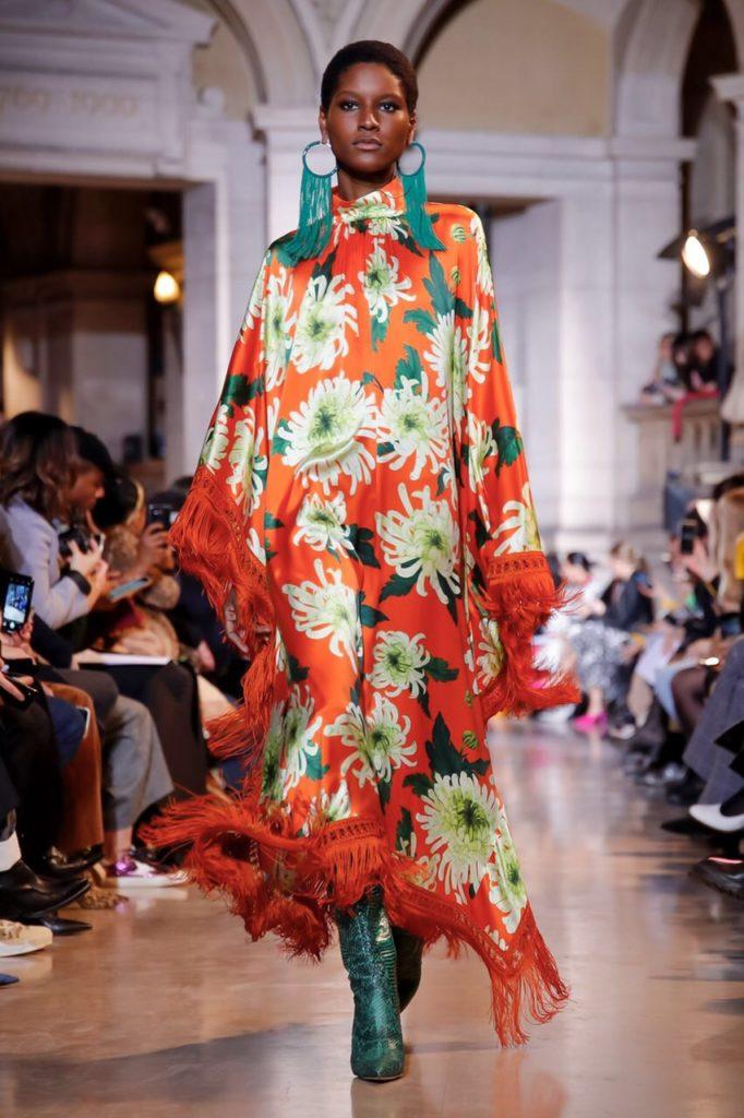 andrew GN orange floral dress