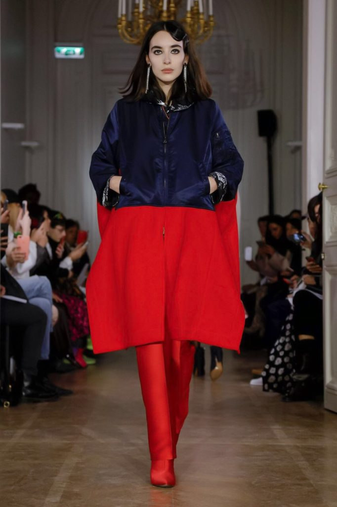 lutz huelle red and navy coat