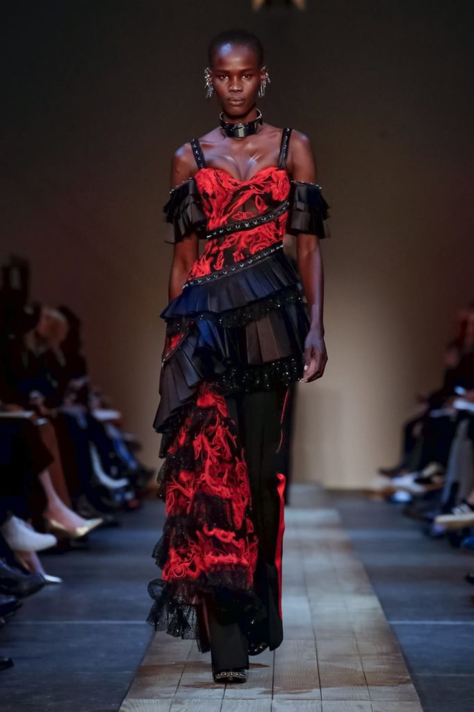 alexander mcqueen red and black gown